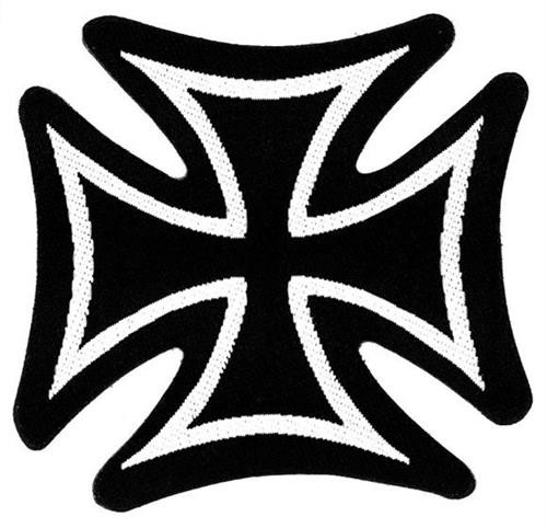 """Iron Cross - Woven Sew On Patch 3"""" x 3.15"""" Image"""