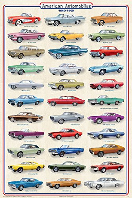 American Automobiles 1960-1969 Educational Car Transportation Reference Chart Print Poster 24x36