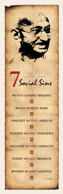 Slim Ghandi 7 Social Sins Poster Print 12x36