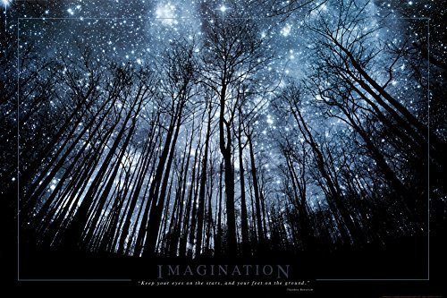 "Imagination Keep Your Eyes on The Stars and Your Feet on The Ground Art Print Poster, 36"" x 24"""