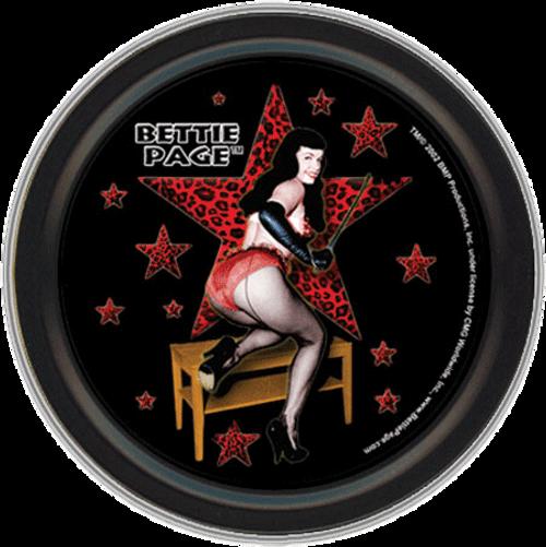 """Stash Tins - Bettie Page - Star 3.5"""" Round Storage Container"""
