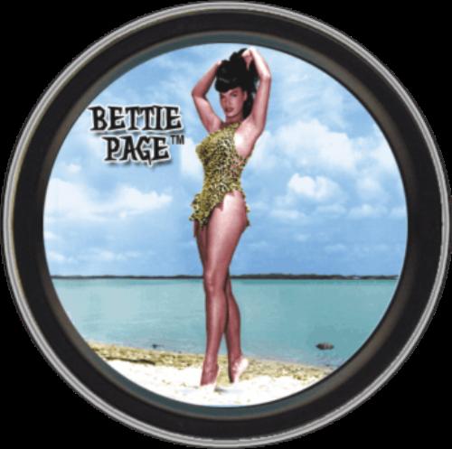 """Stash Tins - Beach Bettie Page 3.5"""" Round Storage Container"""