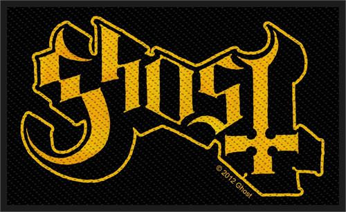 """Ghost Logo - Woven Sew On Patch 4"""" x 2.5"""" Image"""