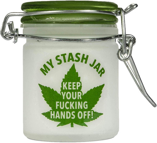 Airtight Glass Mini Stash Jar 1.5 Oz - My Mini Stash Jar - Keep Your F*cking Hands Off! Design