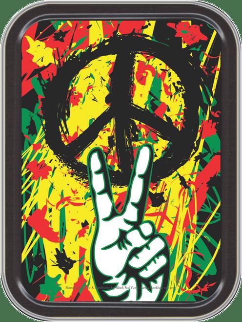"Stash Tins - Peace Graffiti Storage Container 4.37"" L x 3.5"" W x 1"" H"