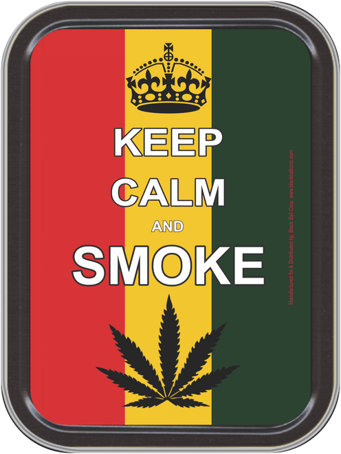 """Stash Tins - Keep Calm and Smoke Storage Container 4.37"""" L x 3.5"""" W x 1"""" H"""