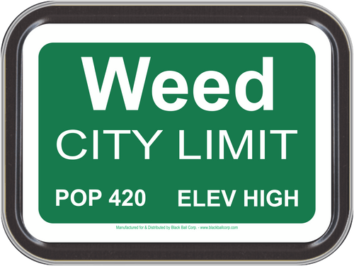 """Stash Tins - Weed City Limits Storage Container 4.37"""" L x 3.5"""" W x 1"""" H"""