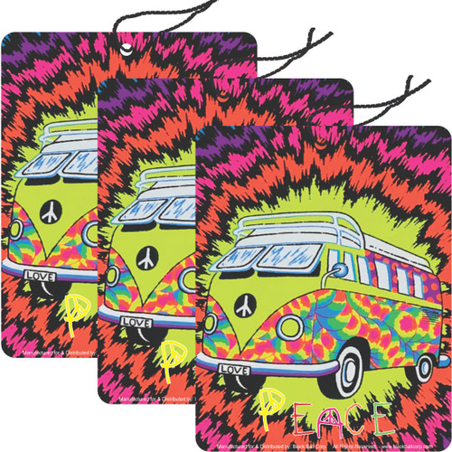 Road Rage Air Freshener - Vanilla Scent - Peace Bus - 3 Pack