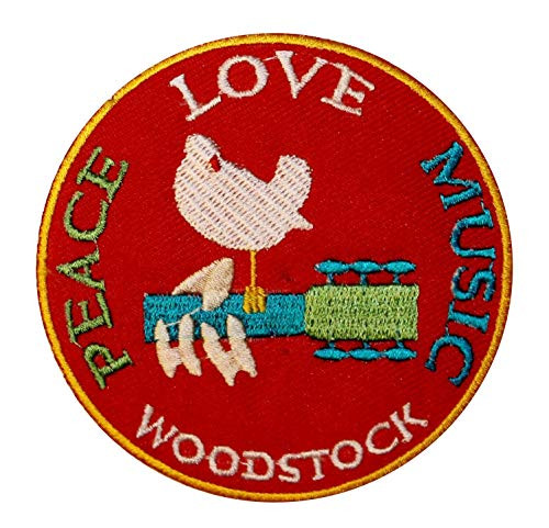 """Woodstock - Peace Love Music - Iron On Embroidered Patch 3.25"""" Round Image"""