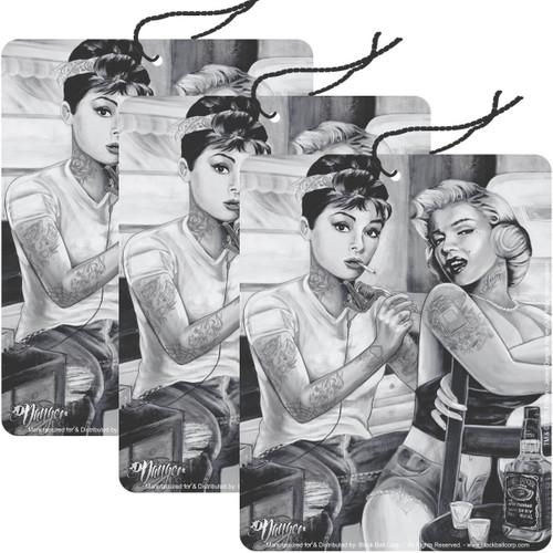 Road Rage Air Freshener - Vanilla Scent - Audrey & Marilyn Tattoo - 3 Pack