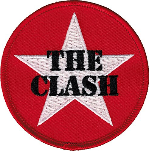 """The Clash White Star Logo on Red - Iron On Embroidered Patch 3"""" Round Image"""