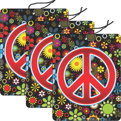 Road Rage Air Freshener - Vanilla Scent - Peace Flowers - 3 Pack