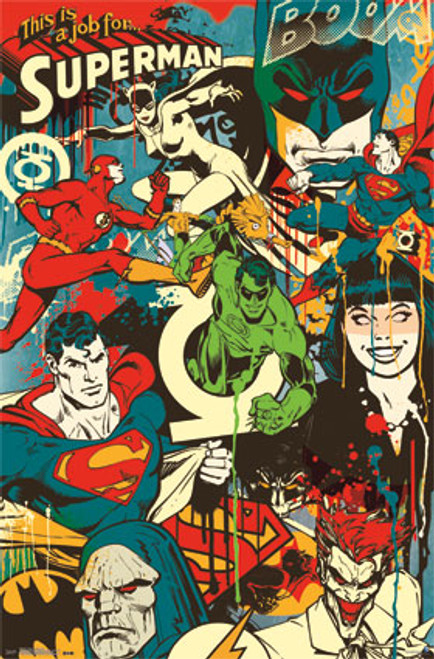 "DC Comics Justice League - Throwback Poster - 22.375"" X 34"""