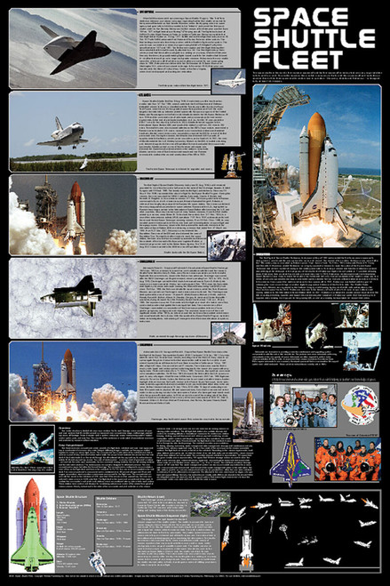 Space Shuttle Fleet Educational Poster 24x36