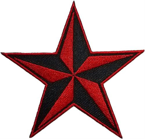 """Red Nautical Star - Embroidered Sew On Patch 3"""" X 3"""" Image"""
