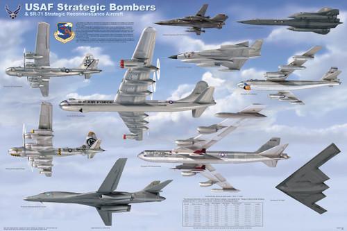 USAF Strategic Bombers Educational Poster 36x24
