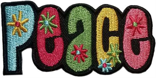"Peace Embroidered Sew On Patch - 2 3/4"" X 1 1/2"" Image"