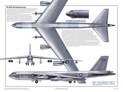 B-52 Three Views Military Airplane Educational Poster 24x18