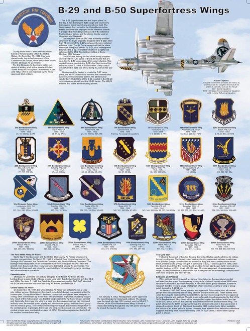 B-29 & B-50 Superfortress Wings Educational Poster 18x24