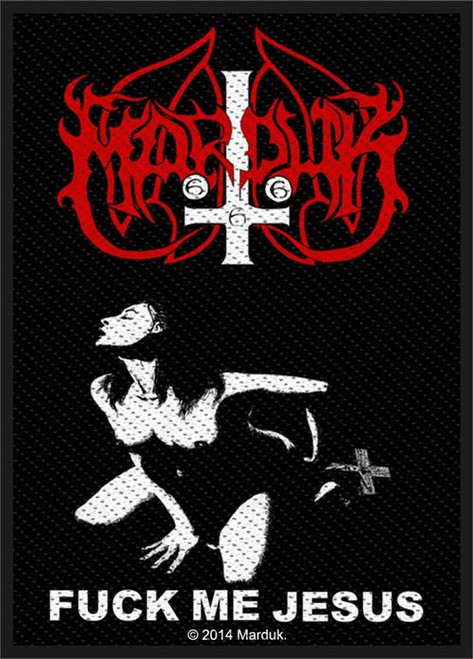 """Marduk Fuck Me Jesus - Woven Sew On Patch 3"""" x 4"""" Image"""
