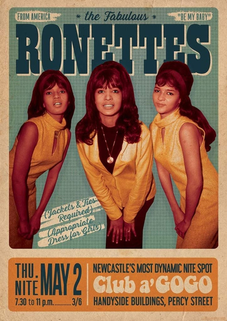 The Ronettes -Newcastle 1968 Concert Bill Poster 23.5x33 inch