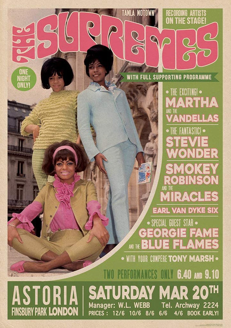 The Supremes London 1965 Concert Bill Poster 23.5x33 inch