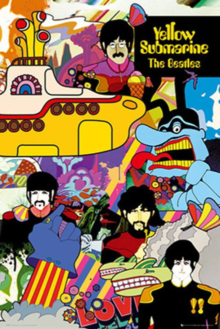 """The Beatles Yellow Submarine Collage Poster 24"""" x 36"""""""