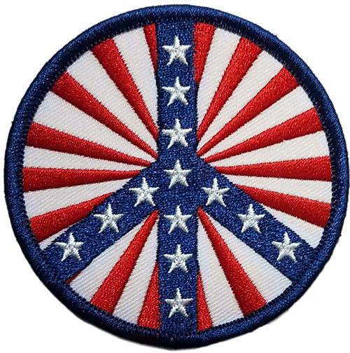 """Peace USA Embroidered Sew On Patch - 3"""" Round Image"""