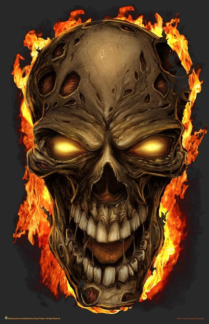 "Flaming Skull Mini Poster - 11"" x 17"""