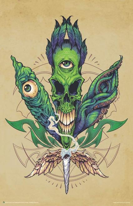 """Pot Leaf Skull Mini Poster - 11"""" x 17"""""""
