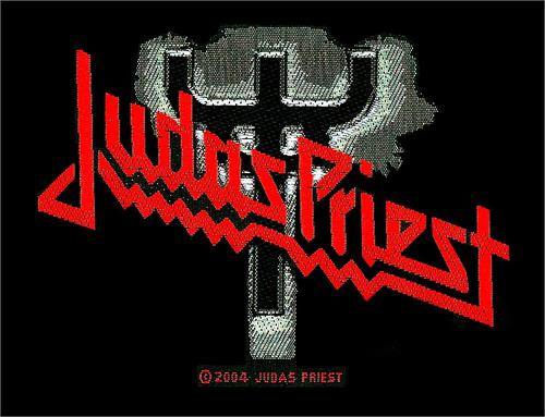 """Judas Priest Fork Logo - Woven Sew On Patch 4"""" x 2.75"""" Image"""