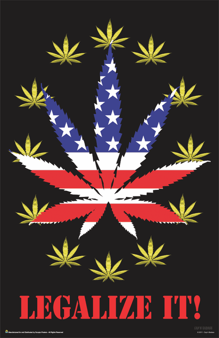 "Legalize It! Stars & Stripes Pot Leaf Marijuana Mini Poster- 11"" x 17"""