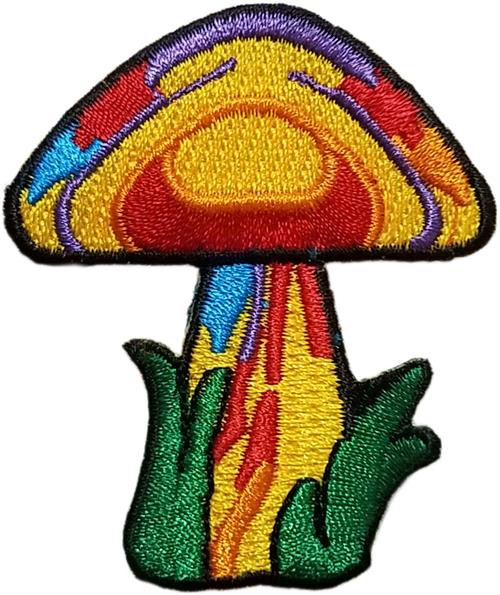 "Mushroom Embroidered Sew On Patch - 2"" X 2 1/4"" Image"