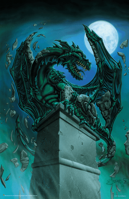 "Awakening Gargoyle Dragon by: Ed Beard Jr Fantasy Mini Poster- 11"" x 17"""