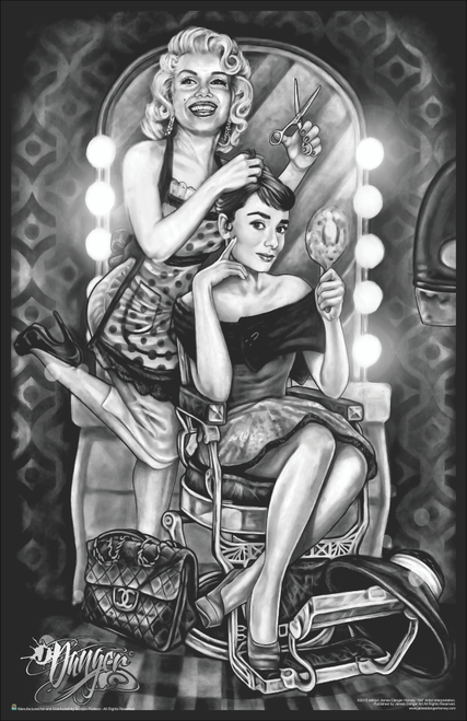 "Marilyn Monroe & Audrey Hepburn Barber Shop by James Danger Harvey Mini Poster- 11"" x 17"""