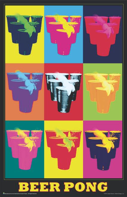 """Beer Pong - Pop Art Mini Poster- 11"""" x 17"""""""