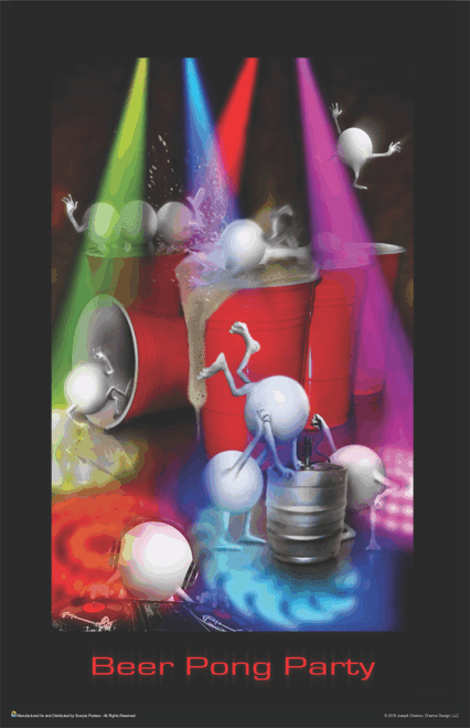"Beer Pong Cups and Balls Party Mini Poster- 11"" x 17"""