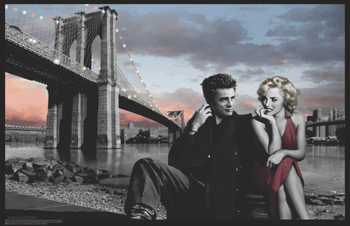 "Marilyn Monroe, James Dean Brooklyn Bridge by Chris Consani Mini Poster- 17"" x 11"""