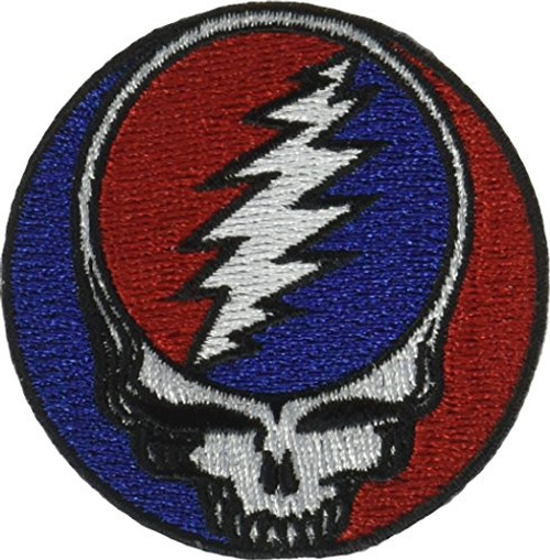 "Grateful Dead Steal Your Face - Iron On Embroidered Patch 2"" Round Image"