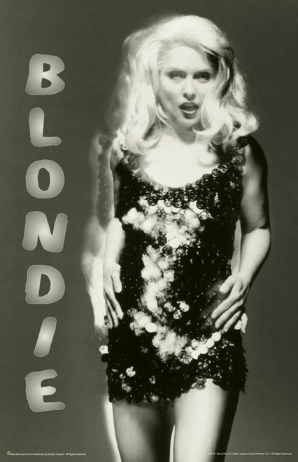 "Blondie - Black & White Debbie Harry Glitter Sequins Mini Poster- 11"" x 17"""
