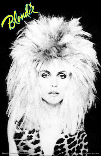 "Blondie - Black & White Debbie Harry Big Hair with Logo Mini Poster- 11"" x 17"""