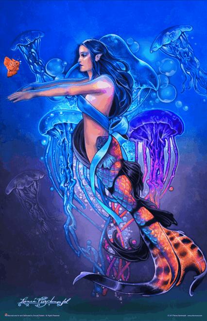 "Swimming Lesson by Renee Biertempfel Mermaid Fantasy Mini Poster- 11"" x 17"""