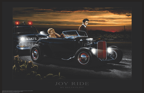 "Elvis and Marilyn - Joy Ride by Helen Flint Mini Poster- 17"" x 11"""