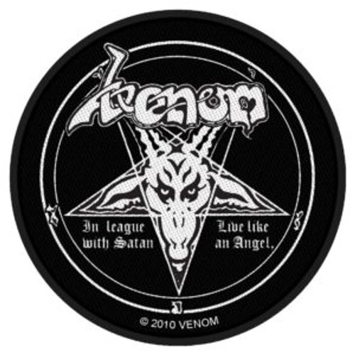 """Venom In League With Satan - Woven Sew On Patch 3"""" Round Image"""
