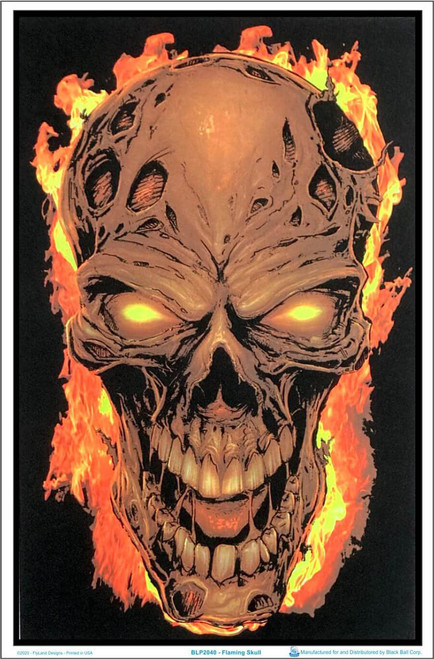 "Flaming Skull Blacklight Poster - Flocked - 23"" x 35"""