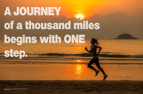 Journey of a Thousand Miles - Jogging Woman on Beach Mini Poster - 17x11