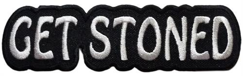 "Get Stoned Embroidered Sew On Patch - 4 1/4"" X 1 1/4"" Image"