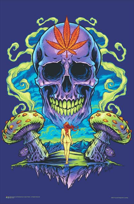 "Purple Cannabis Skull by Flyland Designs Mini Poster 11"" x 17"""