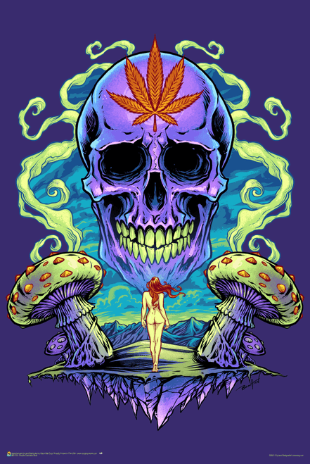 """Purple Cannabis Skull by Flyland Designs Poster 24"""" x 36"""""""