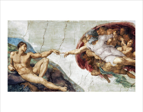 "The Creation of Adam Hands by Michelangelo Mini Poster - 14"" x 11"""